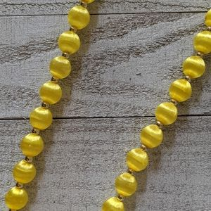 Yellow Fabric Wrapped Bead Necklace
